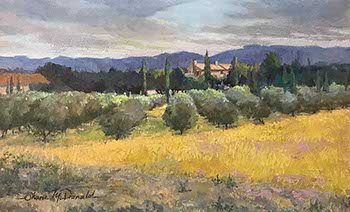 painting of an olive grove before a distant farm house in France