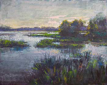 painting of marshes with blues and purples