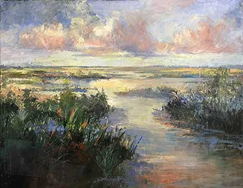 painting of light-filled marshes