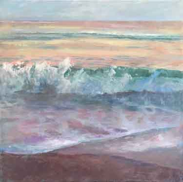 painting dusk light on seascape waves, surf, and sand