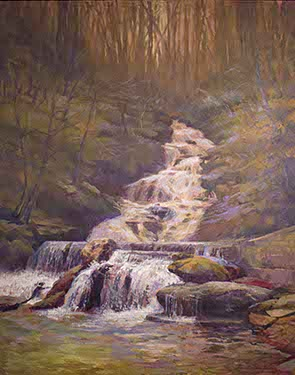 painting of waterfall
