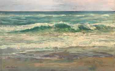 painting of seascape waves, surf, and sand