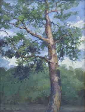 painting of a sunlit tree with backdrop of the Chattahoochee River and a blue sky