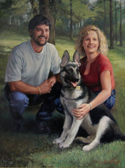Casual fine art oil portrait of a man, woman, and German shepherd outdoors