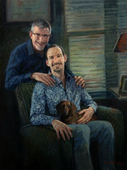 oil portrait painting of two men with a Dachshund