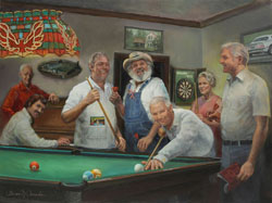 oil portrait painting of six men and one woman around a pool table