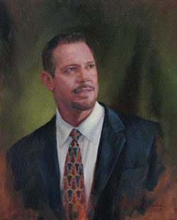 oil portrait painting of a man's head and shoulders in business attire