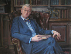 oil portrait of a male librarian wearing a blue suit and bow tie seated in a leather chair in a rare book room