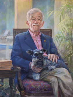 oil portrait painting of an elderly man seated on a chair wearing a navy blue blazer and pink shirt with a dog on his lap