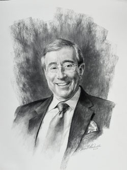 charcoal portrait drawing of a smiling man wearing coat and tie