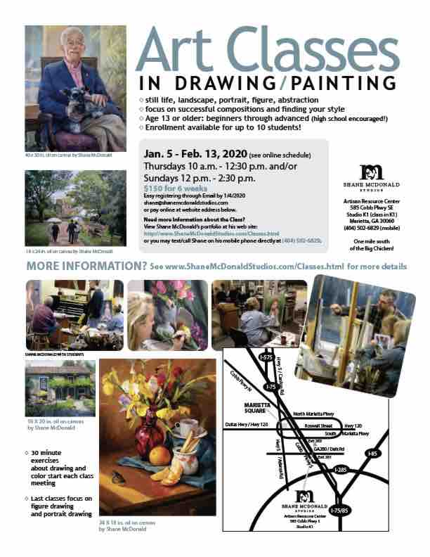 Shane McDonald's Art Classes Flyer thumbnail